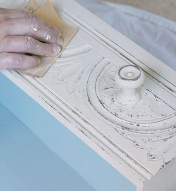 Using One Colour    Use one colour, wax it, and then sand it. particularly good where there is some interesting moulding.  Photograph taken from the book 'Paint Transformations' where you will find full instructions and step by step information