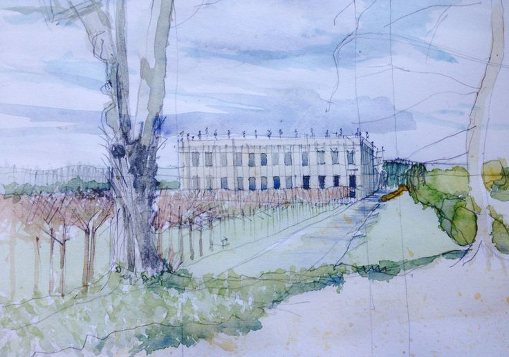 Sketch of Chatsworth House in progress for reference