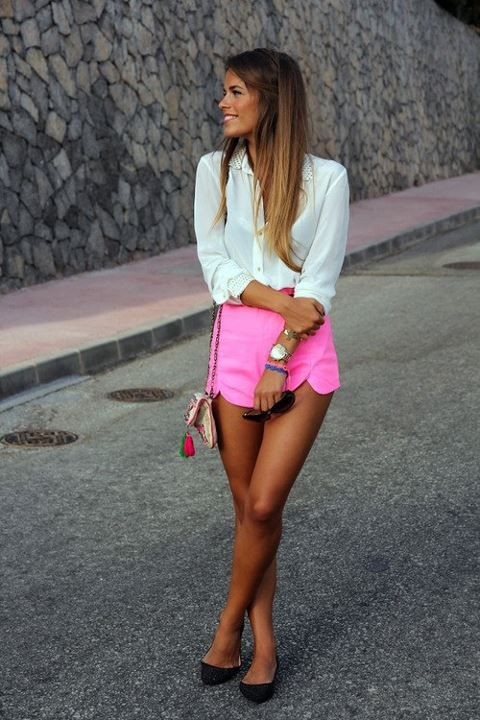 Hot Pink Shorts, white blouse, colorful side purse, black flats. Summer
