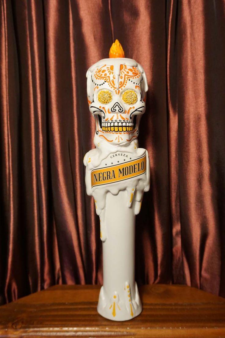 Amazing Tap Handles: Tap Handle #551: Grupo Modelo - Negra Modelo Dia De Los Muertos Calavera Skull Candle