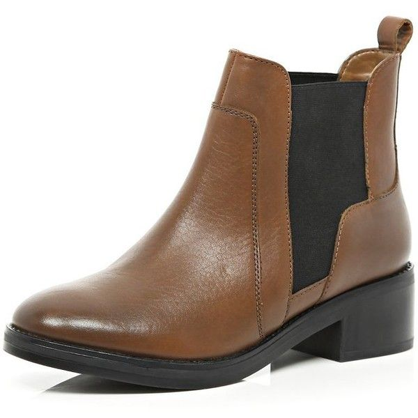 River Island Tan block heel Chelsea boots (1,085 EGP) ❤ liked on Polyvore featuring shoes, boots, sale, shoes / boots, tan, women, chelsea bootie, elastic shoes, tan boots and block heel chelsea boots