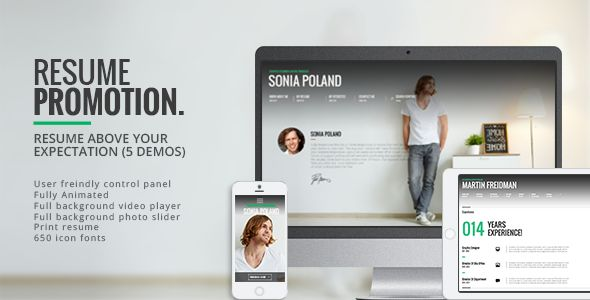Promotion - Animated CV Resume Theme   http://themeforest.net/item/promotion-animated-cv-resume-theme/7709847?ref=damiamio                            Promotion is a beautiful resume theme, it's a combination of latest web technologies with modern and clean design. Almost all the elements are professionally animated, so it gives your website a live feeling and your visitors will enjoy browsing your website even more. Live animation + your motivated resume will change your future!  Promotion…