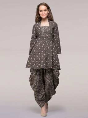 Grey Dabu Printed Cotton Tunic with Dhoti Pants - Set of 2