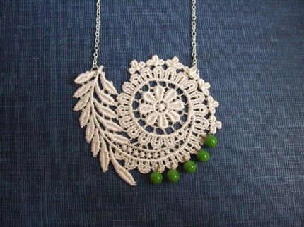 lace and beads pendant...so elegant!