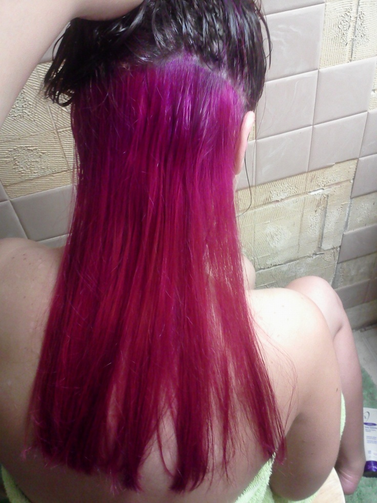 Brown And Pink Living Room Decor: Hot Pink Hair On Bottom Dark Brown On Top