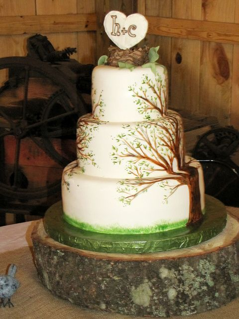 Hand Painted Tree Cake    gumpaste and royal icing bird's nest with a heart and their initials. Hope it goes well, the whole family is staying at the Inn this weekend and so I'll have a lot of guests coming home from the wedding in a few hours either loving or hating me!
