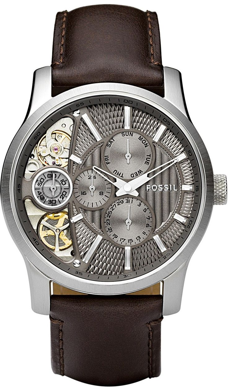 Fossil men 39 s me1098 brown leather strap textured taupe cutaway analog dial chronograph watch for Leather watch for men