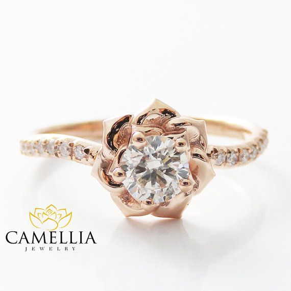 14K Rose Gold Diamond Engagement Ring 0.40ct by CamelliaJewelry