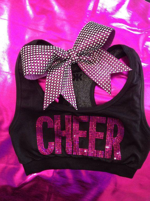 Cheer Sports Bra Top Hot Pink Sequin with Rhinestone by Bowfriendz, $36.99