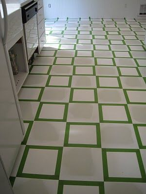 {Beautiful Nest}: Painted Vinyl Floor  This is for those of us with ugly vinyl floor that we can`t afford to replace.