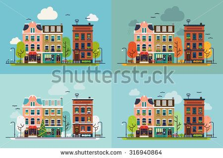 Lovely town street with house facades, trees and other urban details in different times of year | Beautiful set of vector four season city landscape in trendy flat design - stock vector