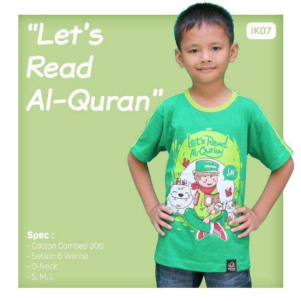 Kaos Anak Muslim Bilhikma IK07 Tema : Lets Read Al-Quran