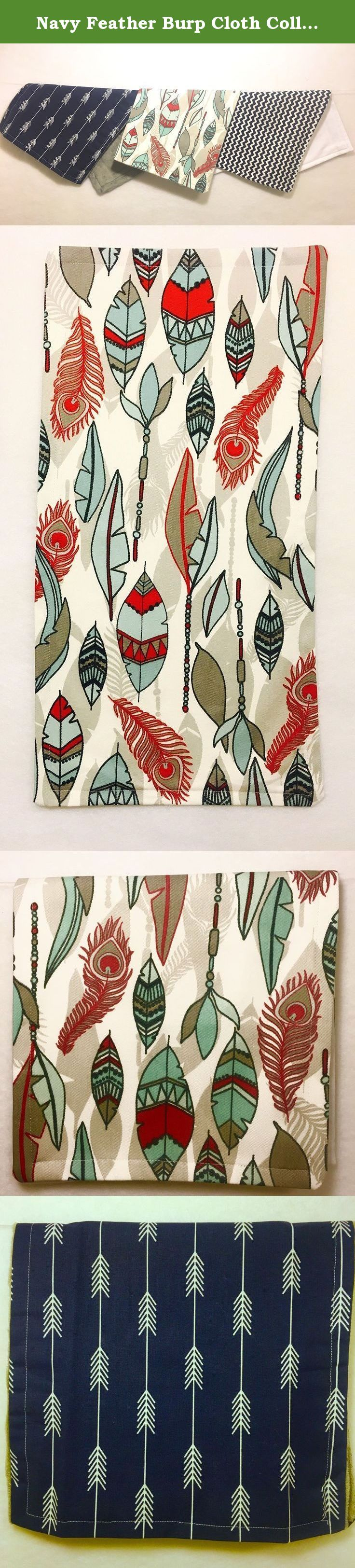 """Navy Feather Burp Cloth Collection. Enjoy our """"Best seller"""" Navy Feather Collection. Feathers, arrows, and chevron prints of the highest quality and 100% organic cotton backing for sensitive skin will surely strike up conversation at your next """"play date."""" Burp cloths measure 8.5 x 16 inches. All of our collections come gift wrapped and sealed with the Tom & Jane Designs label to insure satisfaction. Proudly made in the USA. Machine wash/tumble dry. Monogram available upon request."""
