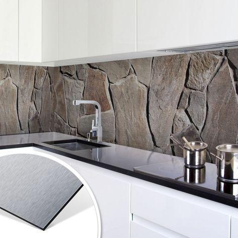 Küchenrückwand - Alu-Dibond-Silber - Mediterrane Mauer Bilder - fliesenspiegel in der küche