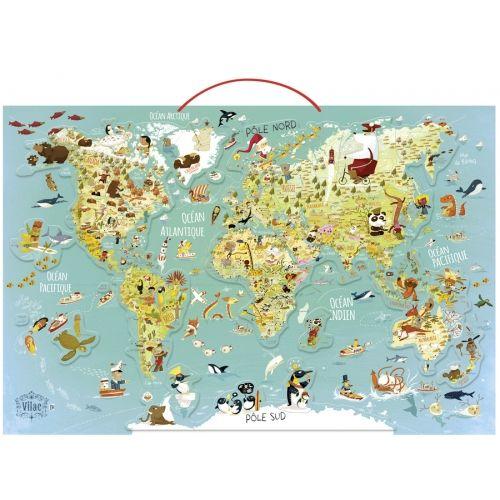 Mágneses világtérkép puzzle, kirakó 68 db-os - Vilac