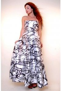 """FREE SHIPPING! This beautiful """"Dream On Gown"""" Beautiful white charmeuse fabric with bold black swirls throughout give this gown tons of interest.  The strapless top leads to an always flattering empire waist which leads to a very full bottom - See more at: http://ladymaternity.com/item_837/Dream-On-Gown.htm#sthash.9goDfosq.dpuf"""