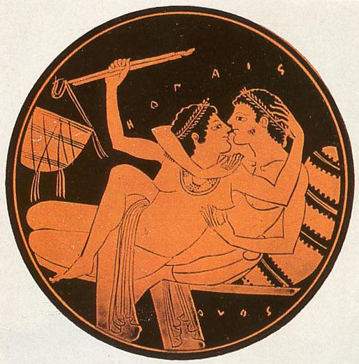 Ancient Greece, dating back to 520-510 B.C. This was a drinking cup made of terracotta.  The image depicts a sexual or at least intimate encounter. It has been broken at some stage and repaired meticulously showing its worth either to it's original owner or a more recent mishap.