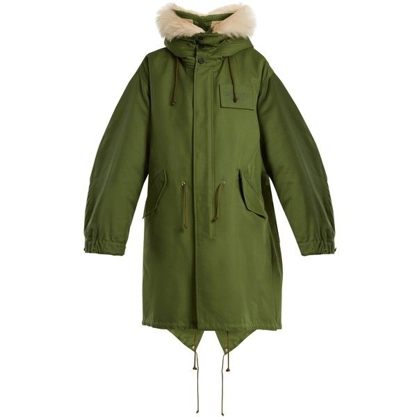 Calvin Klein 205W39NYC Oversized shearling-hood cotton-blend parka (5 045 AUD) ❤ liked on Polyvore featuring outerwear, coats, green parkas, green parka coat, checkered coat, hooded coat and green coats