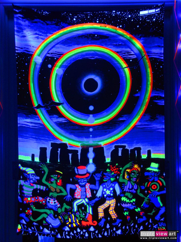 """""""Eclipse Over Stonehenge"""" UV-Blacklight Fluorescent Glow Psychedelic Art Backdrop, £90 in Tripleview Art Shop. #psychedelic #psy #goa #trance #psytrance #goatrance #rave #club #festival #trippy #hippie #esoteric #mystic #spiritual #visionary #symbolism #UV #ultraviolet #blacklight #fluorescent #fluoro #fluo #neon #glow #luminescent #art #backdrop #banner #wallhanging #tapestry #deco #stonehenge #eclipse #rainbow #elves #goblins #party"""