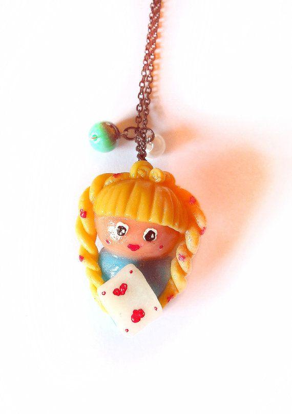 Sale 50% Alice in Wonderland necklace cold porcelain doll