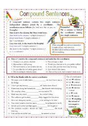 English teaching worksheets: Compound sentences