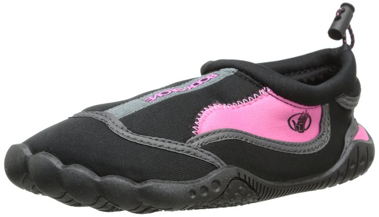 Body Glove Girls' Soak-K Water Shoe, Black/Pink, 12 M US Little Kid. Adjustable shocklace. Adjustable velcro strap closure. Non-marking tpr outsole. Ids - integrated drainage system.