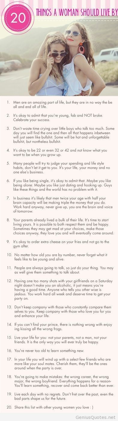 20 Rules a Woman Should Live By quotes genius / Genius Quotes on imgfave