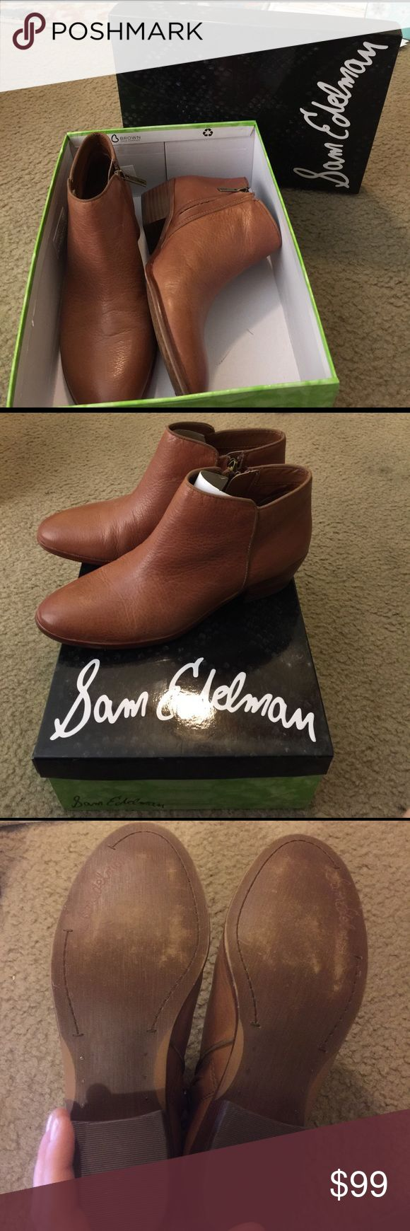Sam Edelman brown leather boots Size 8. Only worn once (slight scuffs on bottom). Beautiful leather boots, just a size too big. Sam Edelman Shoes Ankle Boots & Booties