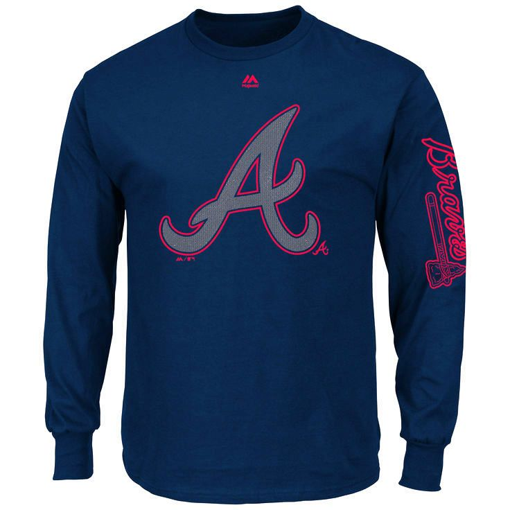Atlanta Braves Majestic Up and Over Long Sleeve T-Shirt - Navy - $25.59