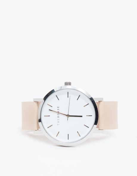 Silver/Natural Band Watch by The Horse http://www.thehorse.com.au/collections/watches#classic