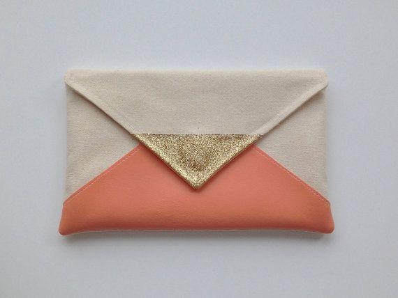 Glitter & Peach Envelope Clutch