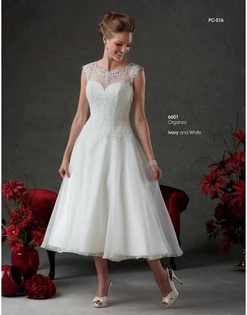 tea-délka organza svatební svatební šaty