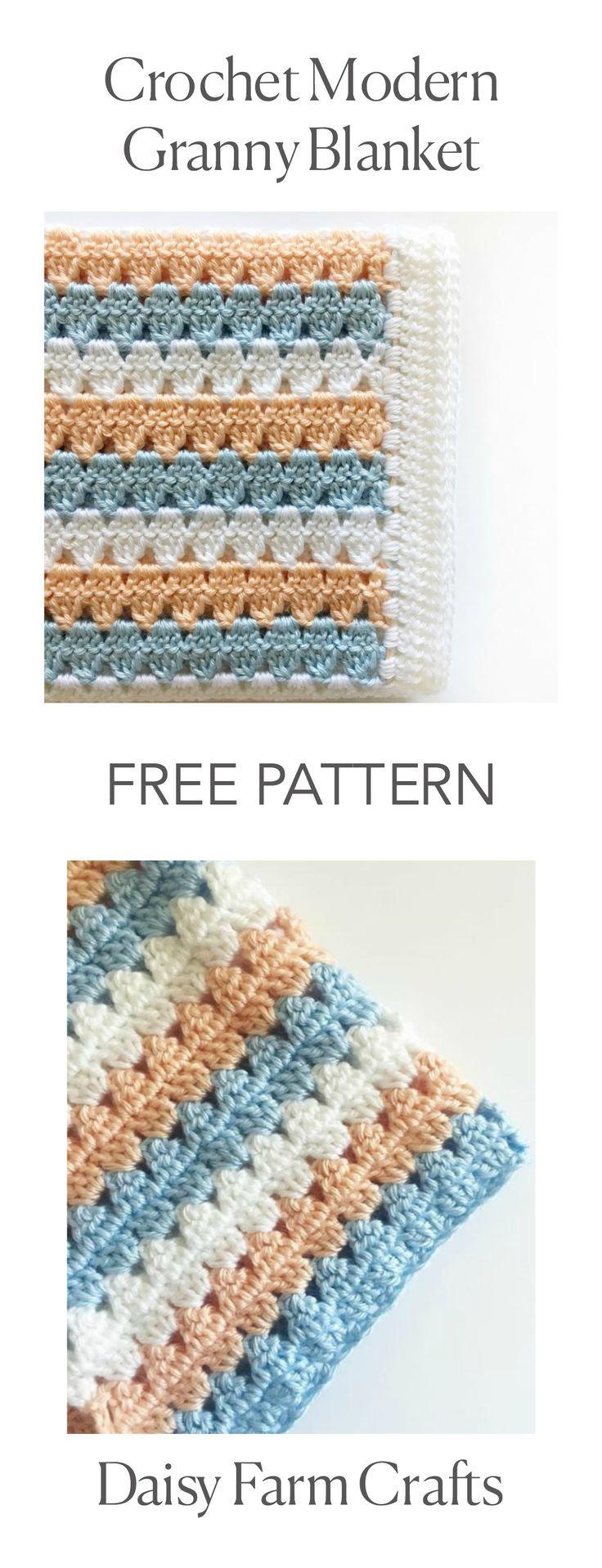 FREE PATTERN - Crochet Modern Granny Blanket in Peach and Blue