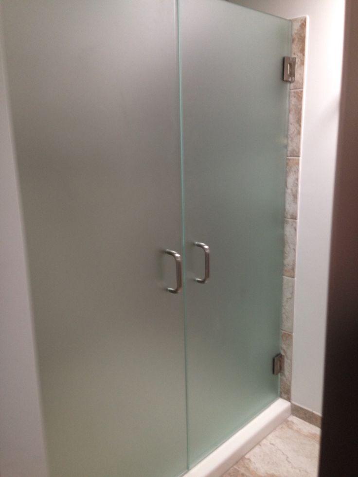 """3/8"""" frameless French Shower doors frosted glass. Modern"""