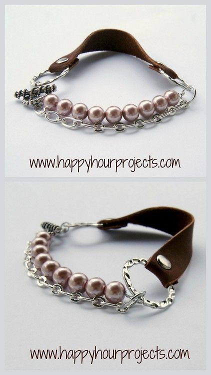 DIY Leather Chain Beaded Bracelet Tutorial. Tutorial from Happy Hour  Projects here. *If