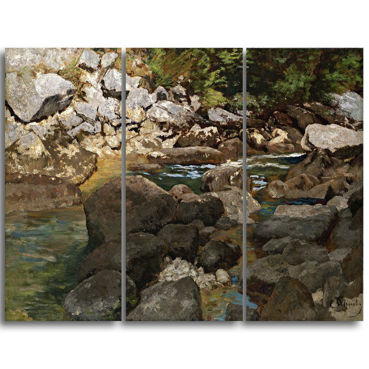 Design Art 'Carl Schuch – Mountain Stream with Boulders' Landscape Canvas Arwork – Multi-color (36 in. wide x 28 in. high – 3 panels – 3 Pieces),