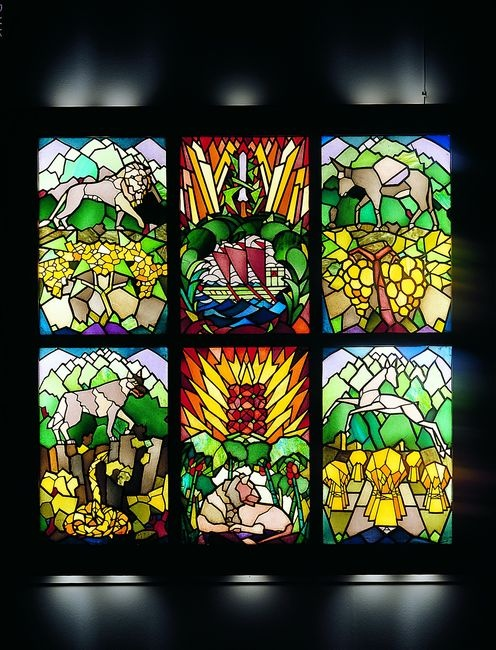 Friedrich Adler, Twelve Tribes Window, Freiburg im Breisgau, ca. 1919 (detail), produced by Eduard Stritt, for an agricultural training (Hachshara) grstained-glass, leaded, 6 two-part windows, 53.5x81 each, Tel Aviv Museum of Art