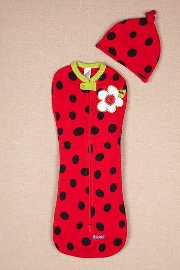 Sozo Ladybug Swaddle Sak & Cap Set