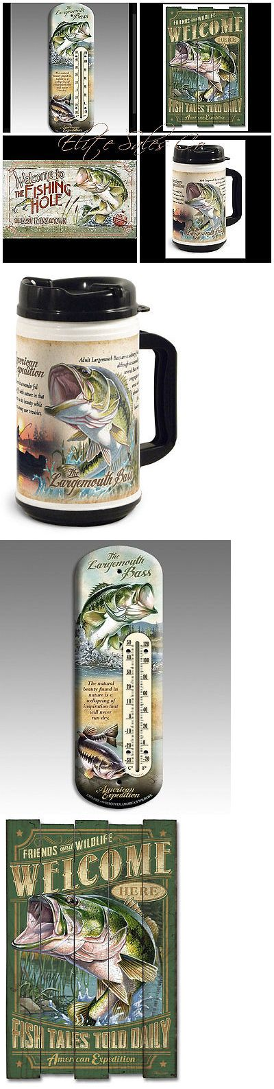Novelties and Gifts 62143: Largemouth Bass Mug, Thermometer, Wooden Cabin Sign, And Glass Chopping Board -> BUY IT NOW ONLY: $91.75 on eBay!