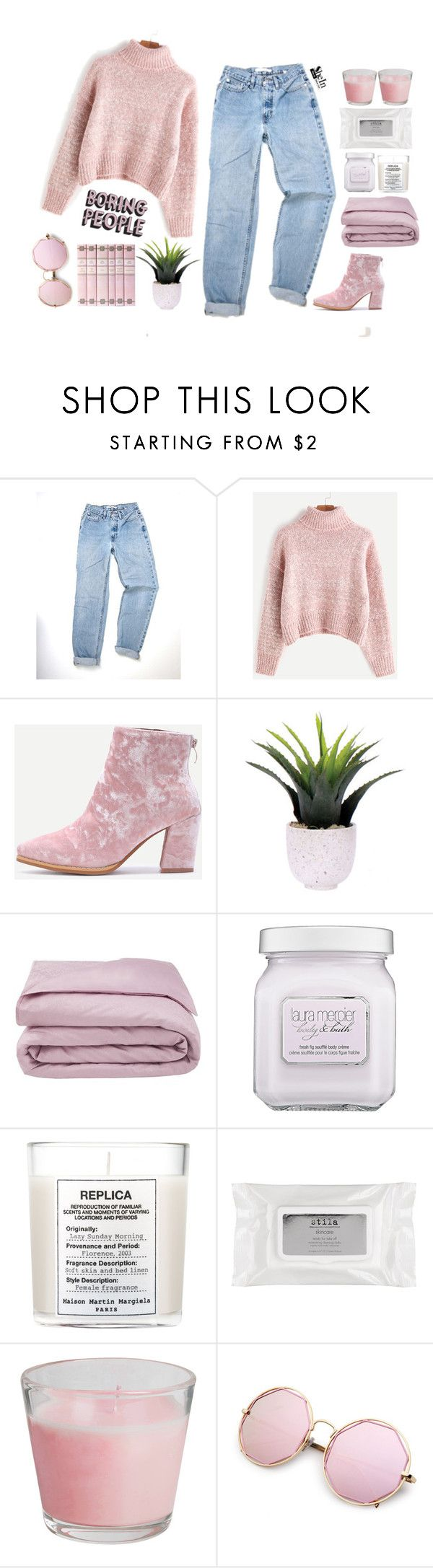 """#SHEIN"" by credentovideos ❤ liked on Polyvore featuring WithChic, Lux-Art Silks, Frette, Laura Mercier, Maison Margiela and Stila"