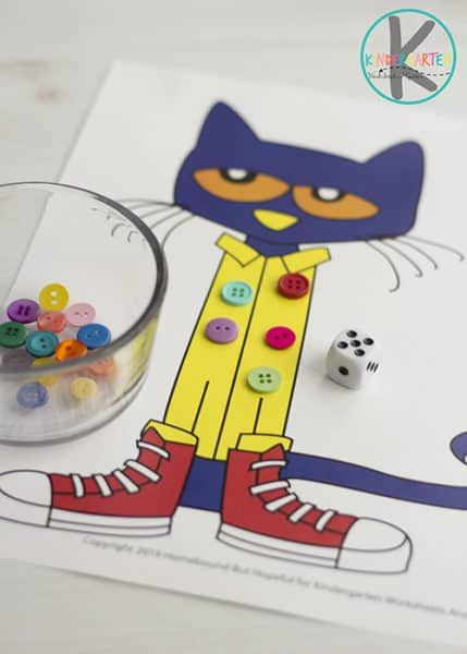 FREE Pete The Cat Math Game – this is such a fun kindergarten math activity to p…