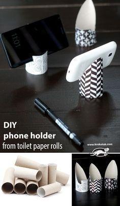 Como fazer descanso de celular com rolinho do papel higiênico