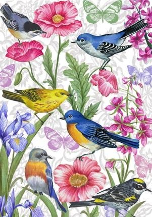 Birds and Flowers-vertical By Elena Vladykina