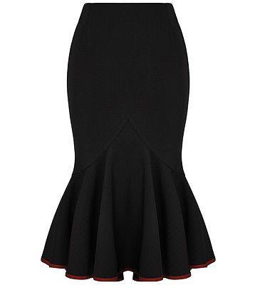 Punk Rave Skirt Black Red Pinstripe Pencil Fishtail Gothic VTG Military Uniform