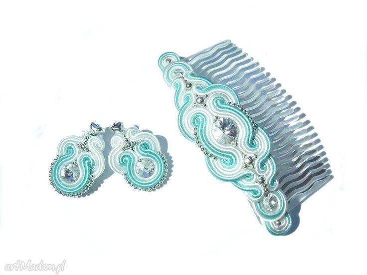 Kolczyki grzebyk włosów sutasz mięta biel komplety molicka