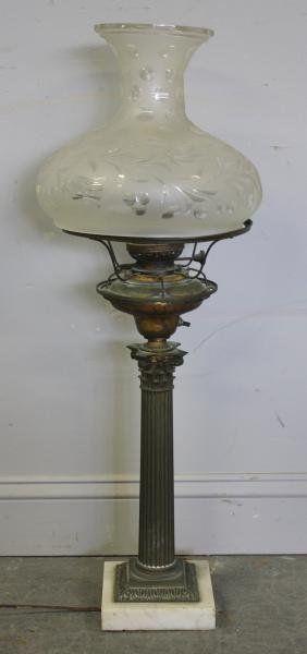 Antique Sinumbra Sprem Oil Lamp With Original Shade