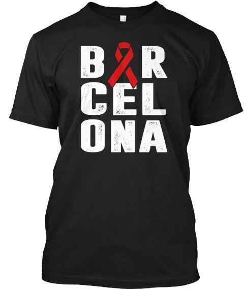 Pray For Barcelona T Shirt Black T-Shirt Front