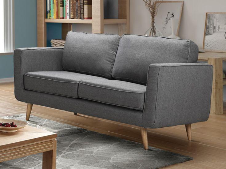 Sofá 2 plazas de tela 100% poliéster en color gris DOVALI