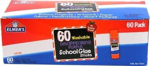 Elmers Glue Stick Purple School Supply Kit 60 Pack Classroom Craft Adhesive Kid #Elmers