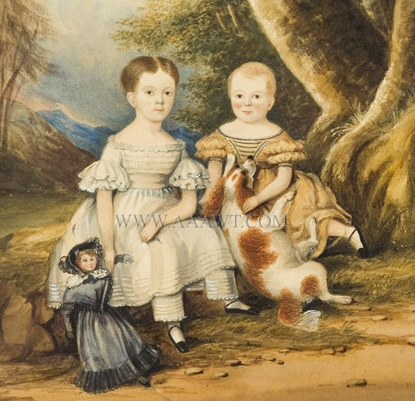 Portrait, Brother and Sister with Doll and Dog, Shown in Landscape Anonymous 19th Century A competent rendering